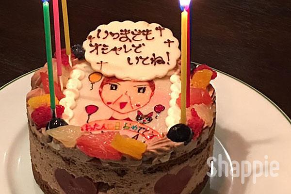 似顔絵ケーキ-おばあちゃんの絵-shappie