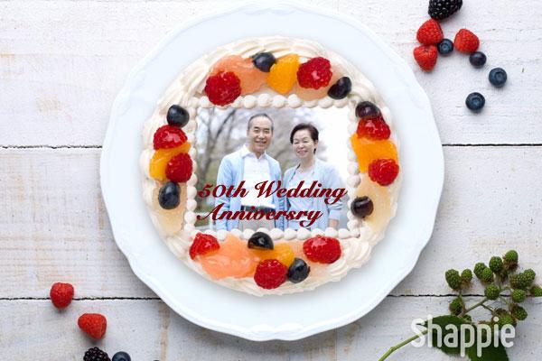 金婚式ケーキ-写真ケーキ