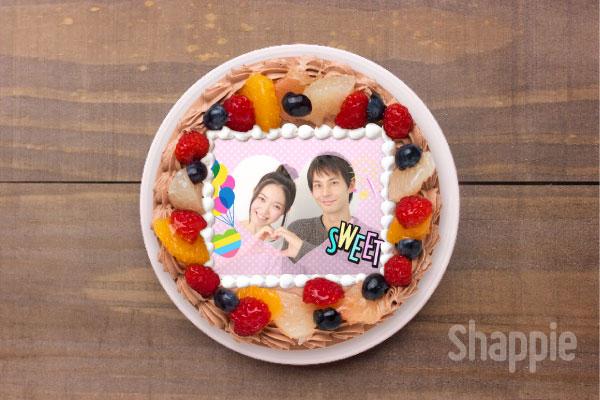 本命チョコ-写真ケーキ