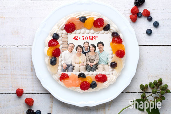 金婚式ケーキ-三世代ケーキ-写真ケーキ