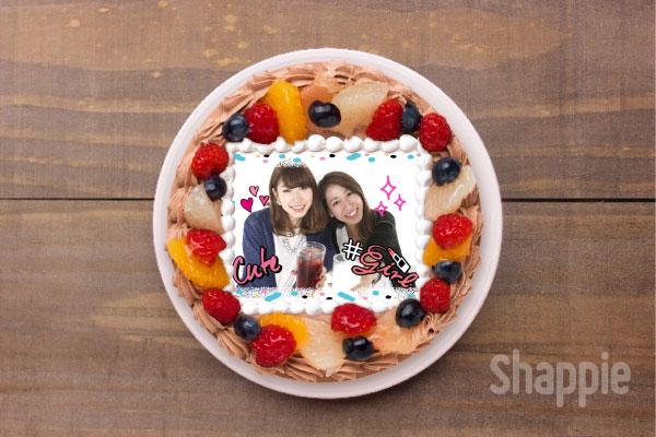 友チョコ-写真ケーキ