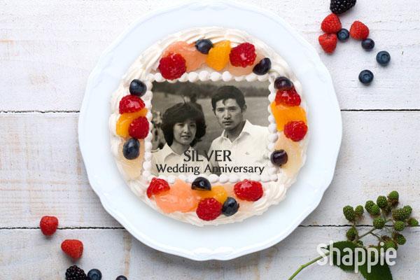銀婚式ケーキ-写真ケーキ