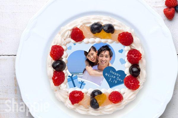 ホワイトデー写真ケーキ